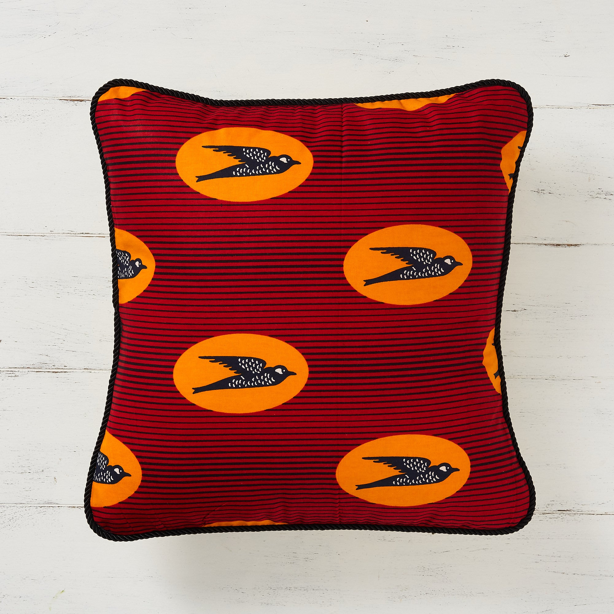 African print pillow cover - Red Speed Bird