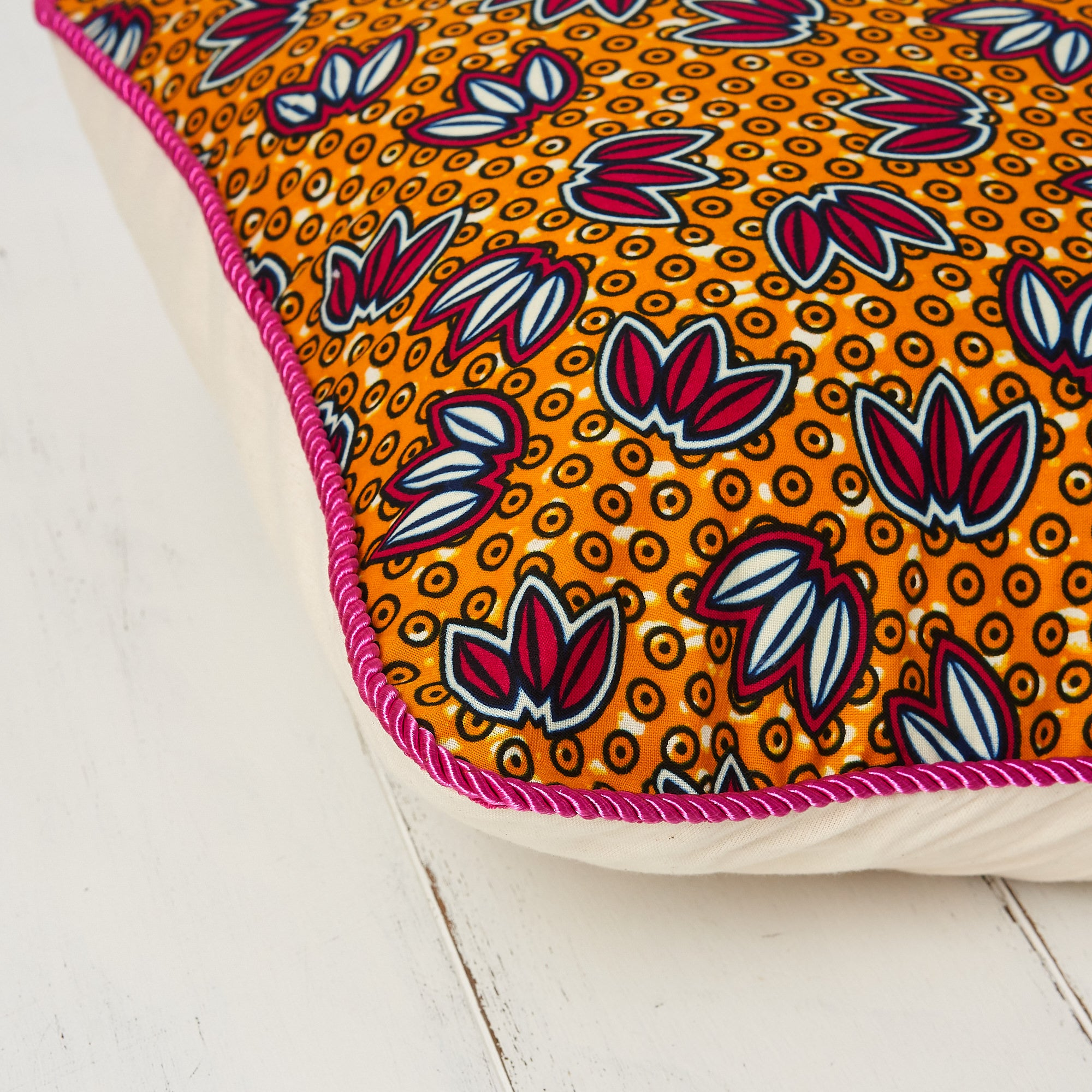 African print pillow cover - Orange and cerise petals