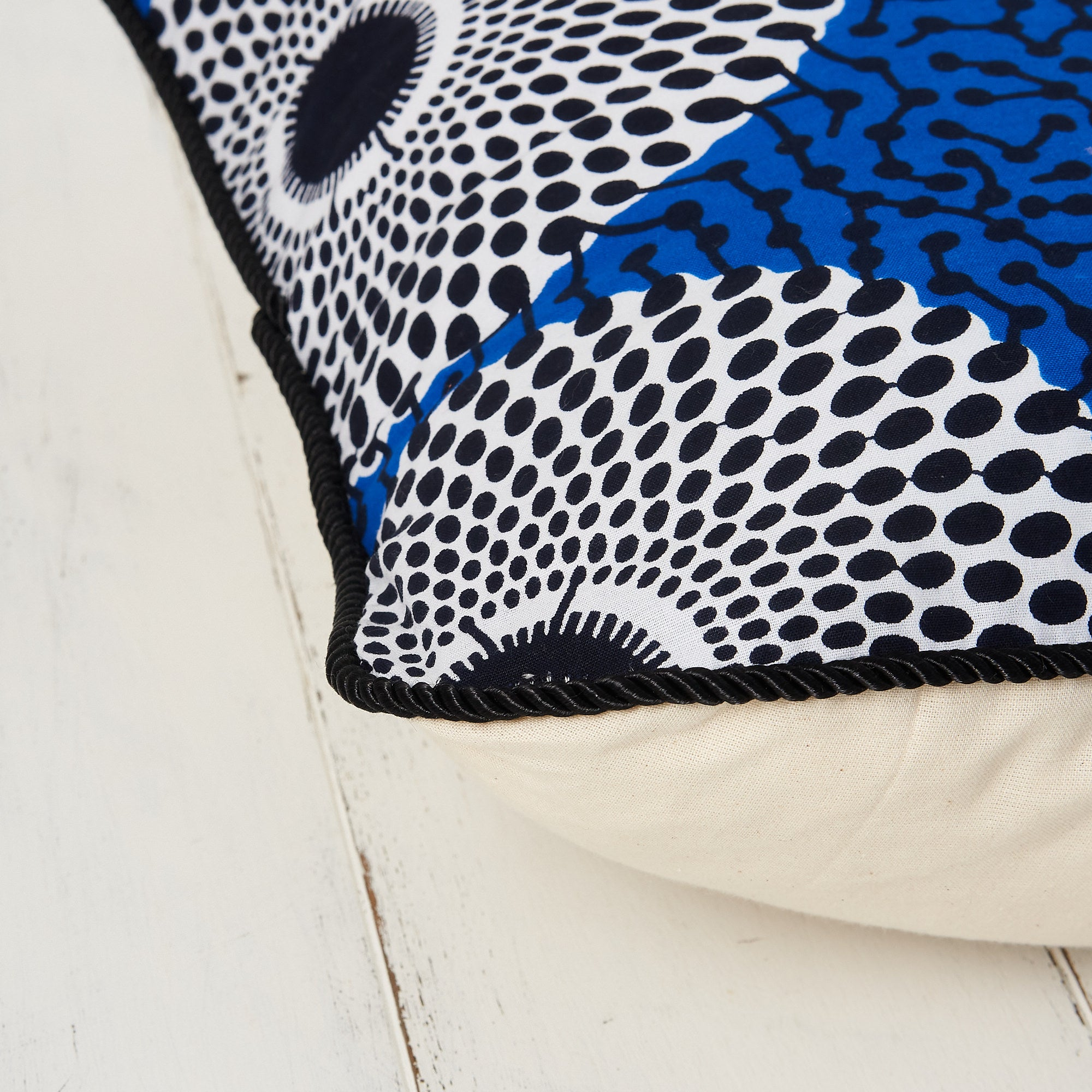 African print pillow cover - Blue Record print