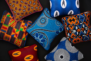 African print pillow cover - Blue orange balogan