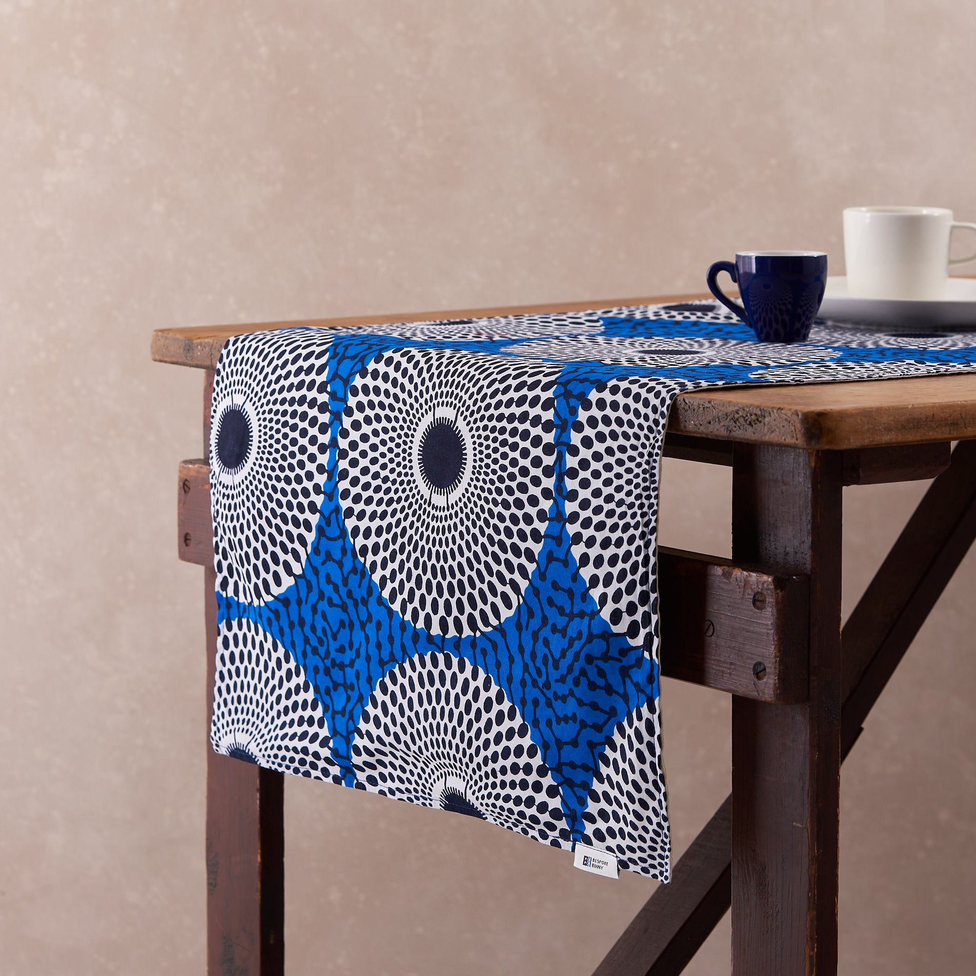 African Print Table Runner - Blue Record Print