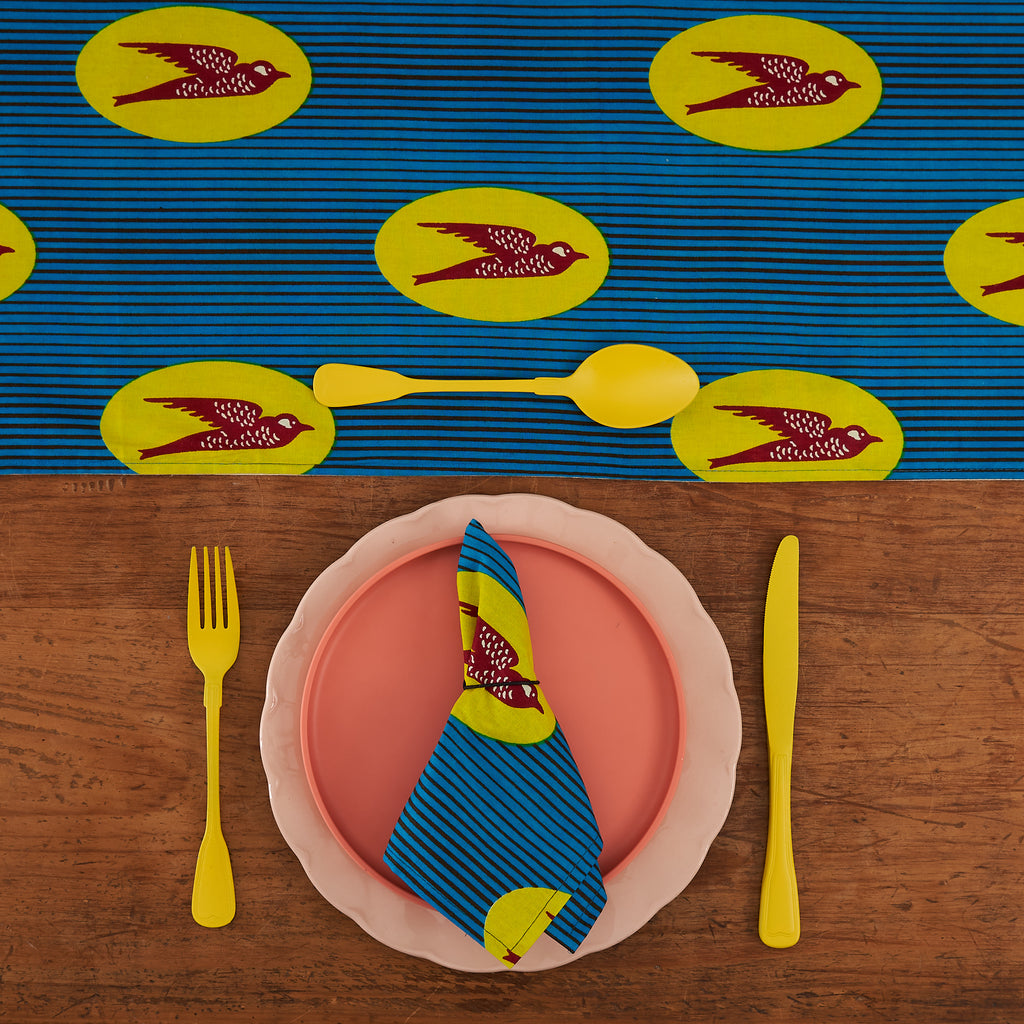 African Print Table Runner - Blue and Yellow speed bird