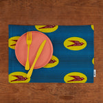 African print fabric placemats - Blue and Yellow Bird