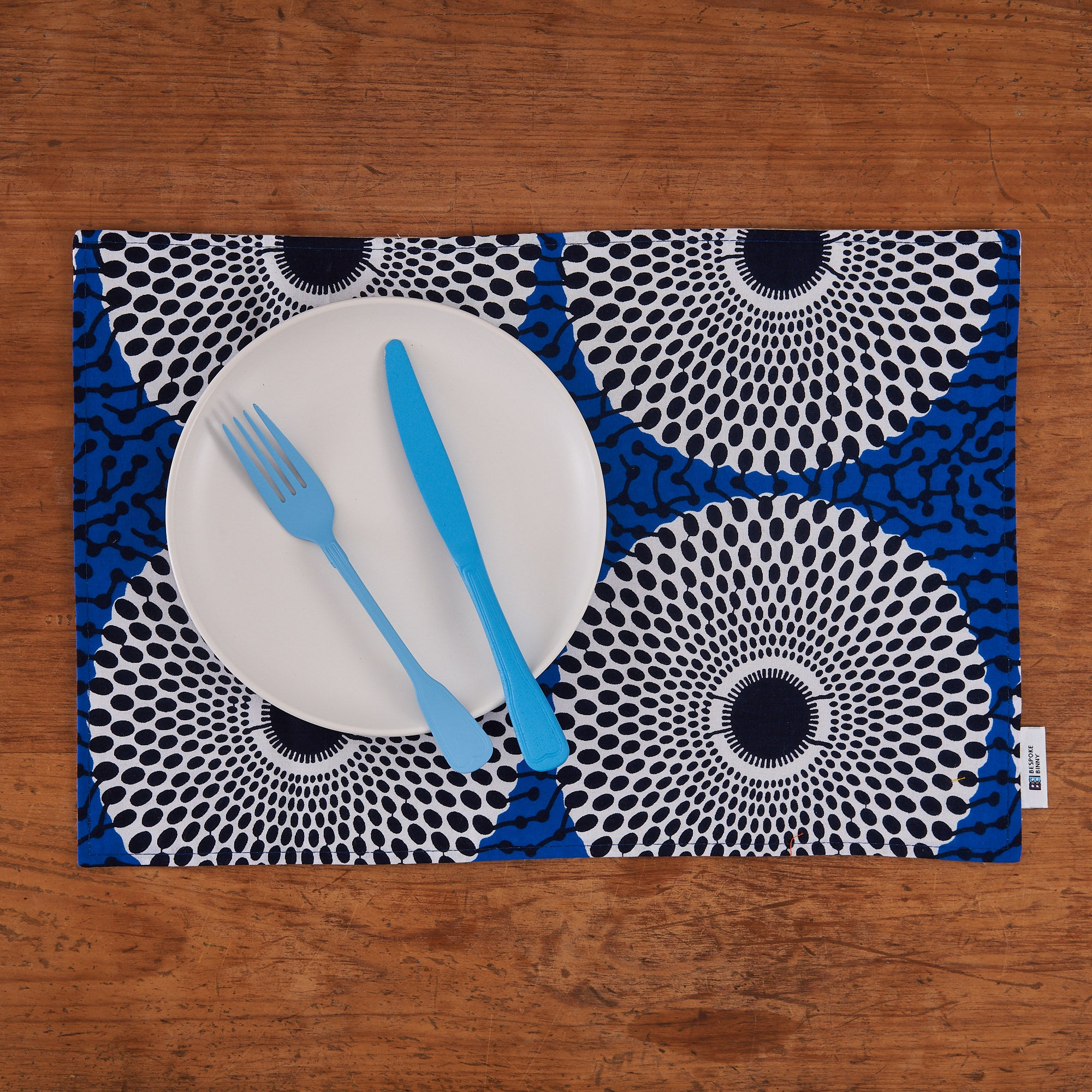 African print fabric placemats - Blue record print