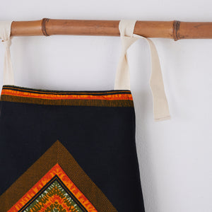 African print apron - Black and orange diamond - Bespoke Binny