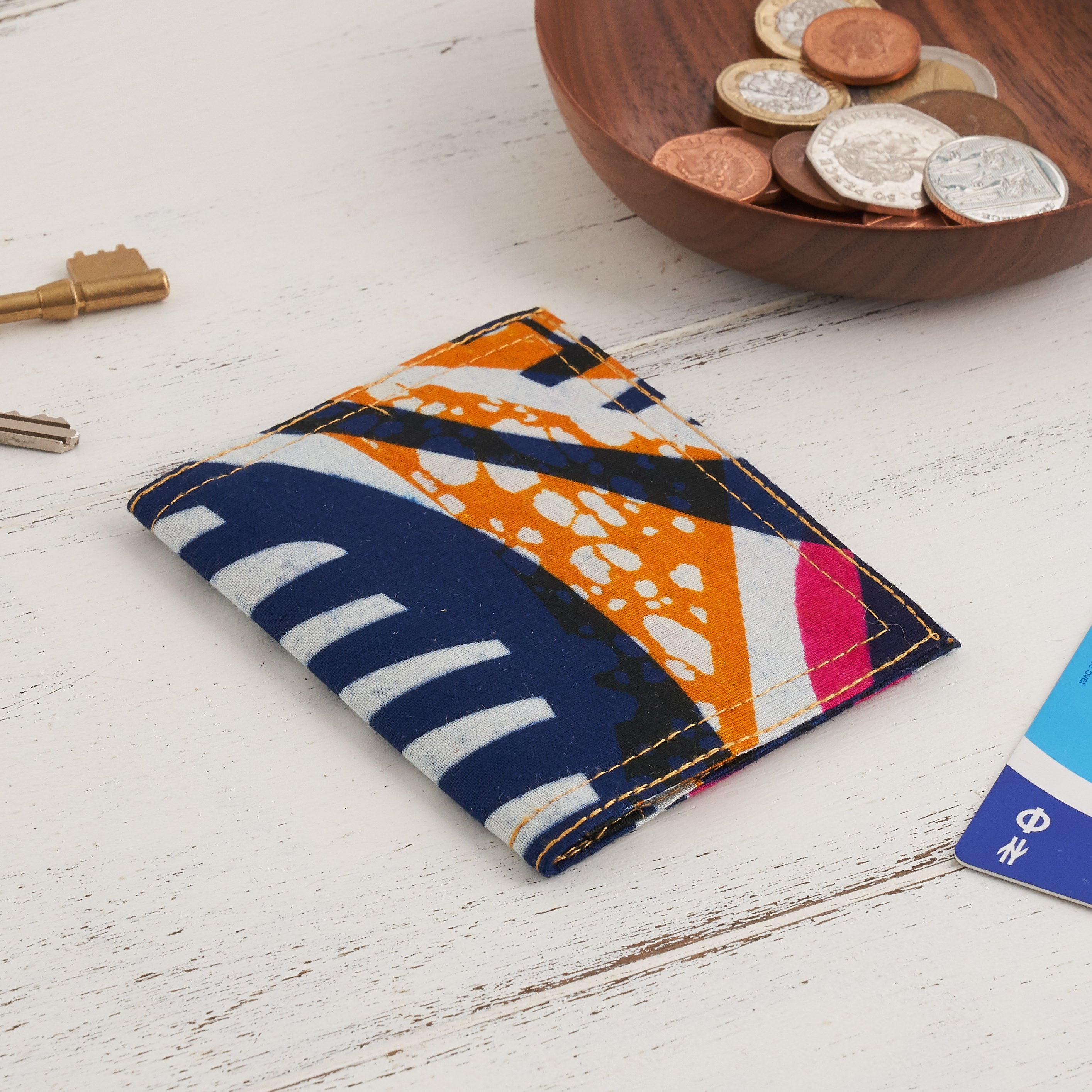 African Print Credit card holder - Blue and Pink - Bespoke Binny