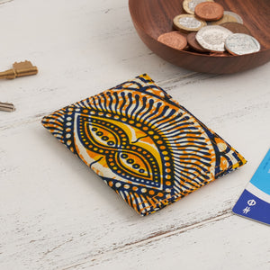 Card Holder African Print  - Yellow abstract - Bespoke Binny