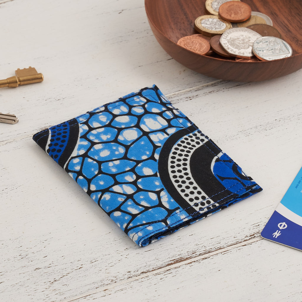 African Print Credit card holder - Blue Abstract