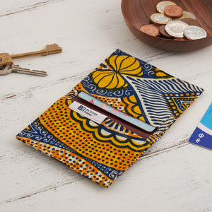 Card Holder African Print  - Yellow abstract
