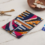 African Print Credit card holder - Blue and Pink