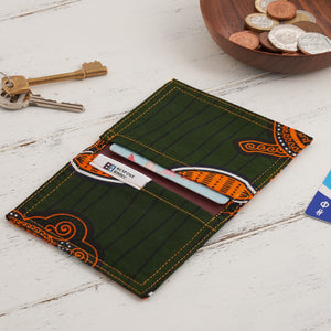 Card Holder African Print - Forest green - Bespoke Binny