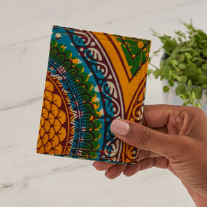 Card holder African print - Blue yellow geo