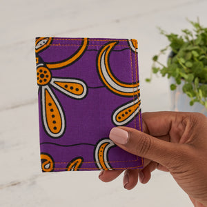 Card Holder African Print - Purple flowers