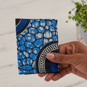 African Print Credit card holder - Blue Abstract - Bespoke Binny