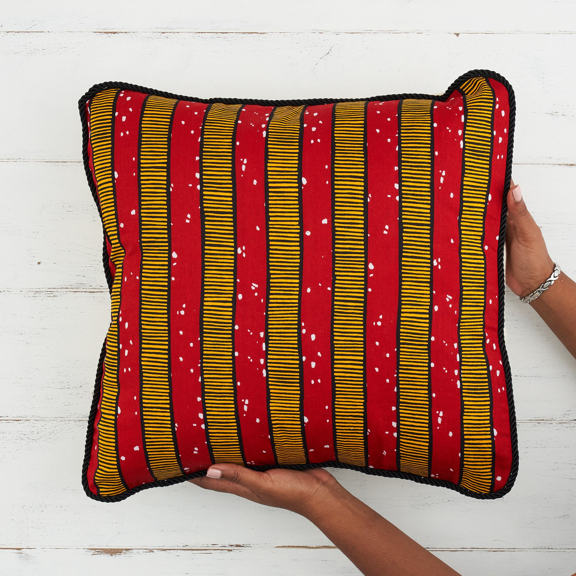 African Print Pillow - Red stripes - Bespoke Binny