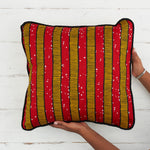 African Print Pillow - Red stripes