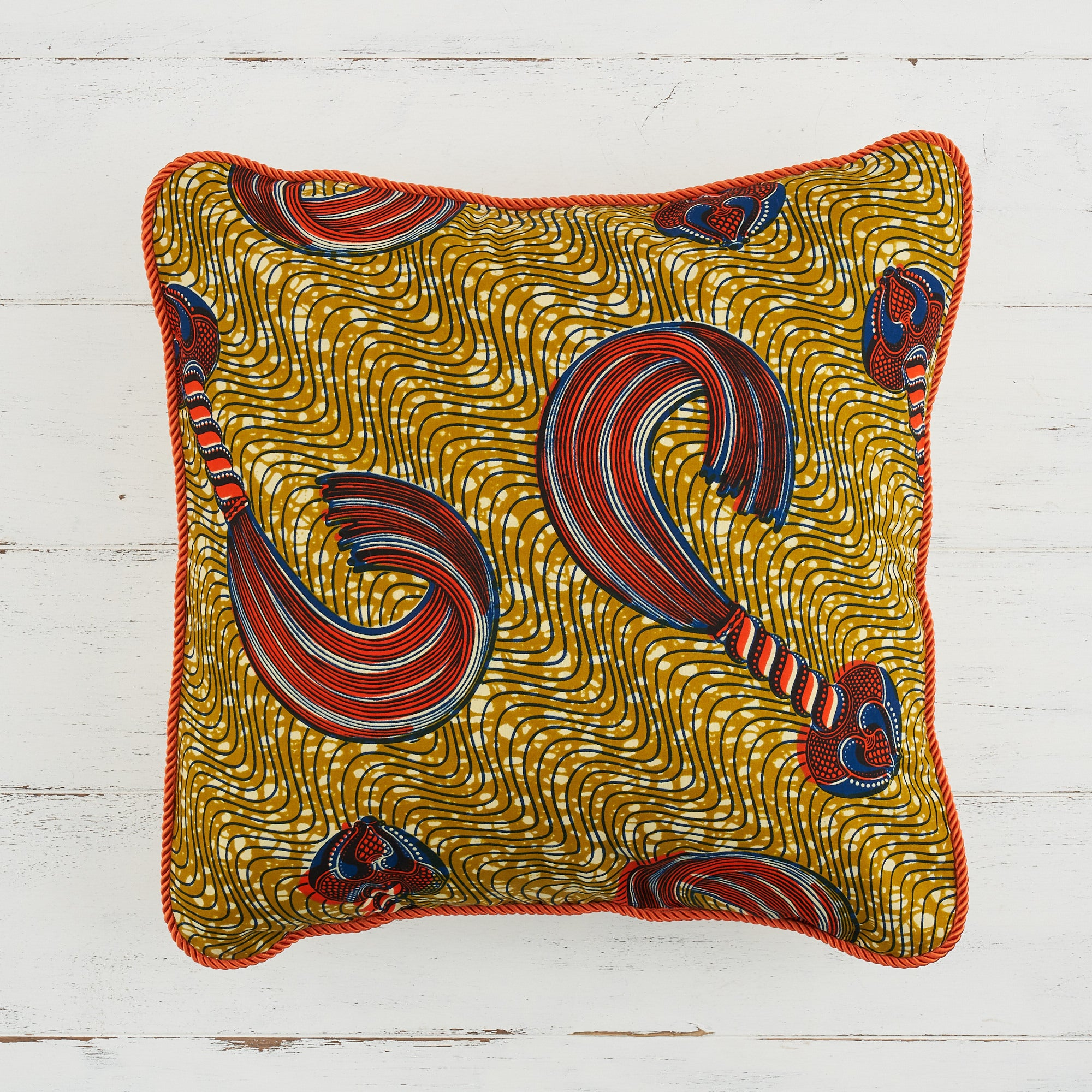 African Pillows - Gold and orange whip