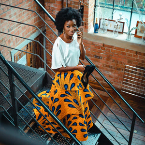 African maxi skirt -Yaayaa Layered maxi  - Yellow