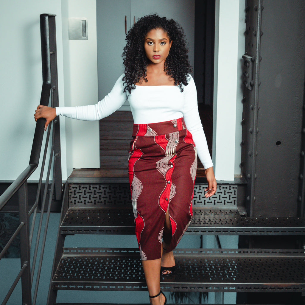 Stella pencil skirt - Red waves