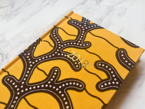 2018 Planner - Yellow and Black African Print A6 Monthly Diary