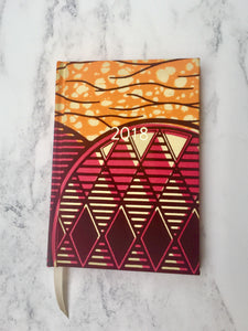 2018 Planner - Pink and Orange African Print A6 Monthly Diary