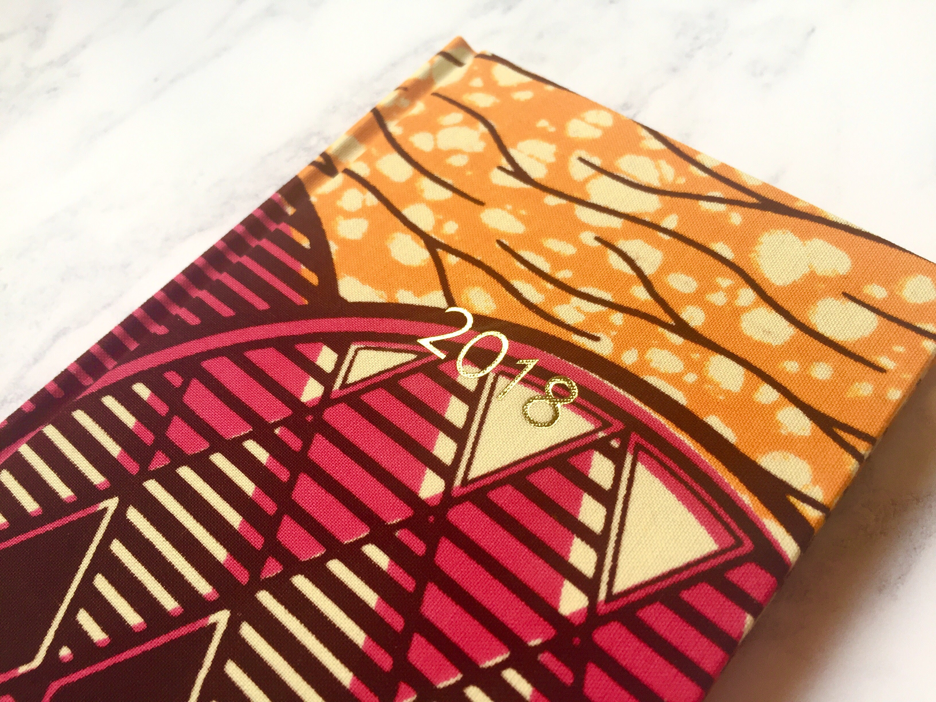 2018 Planner - Pink and Orange African Print A6 Monthly Diary - Bespoke Binny