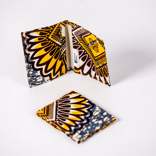 African Print Credit card holder - Yellow Grey Flowers