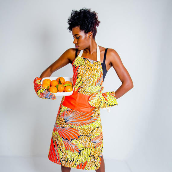 African print apron - Yellow and orange floral palms - Bespoke Binny
