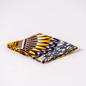 African Print Credit card holder - Yellow Grey Flowers - Bespoke Binny