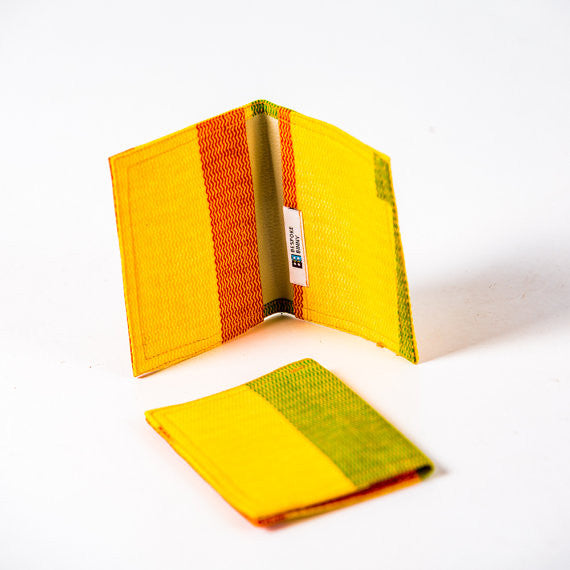 African Print Credit card holder - Yellow green Kente - Bespoke Binny
