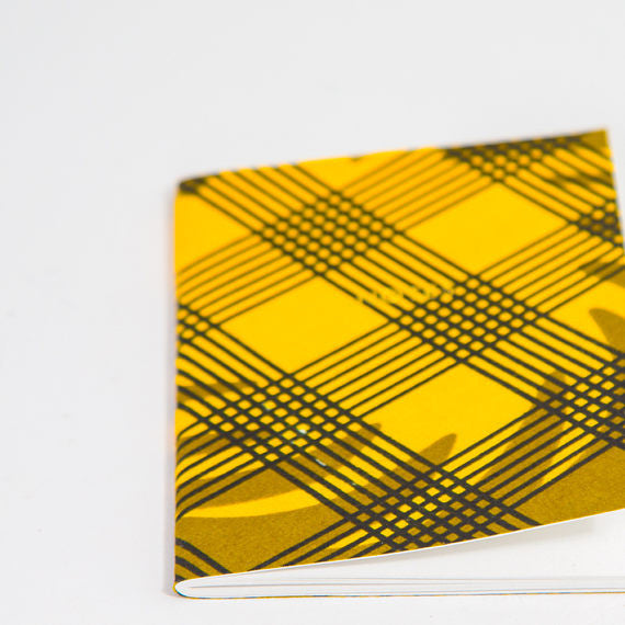 African Print Softbound Notebook -  Green Olive Checked - Bespoke Binny