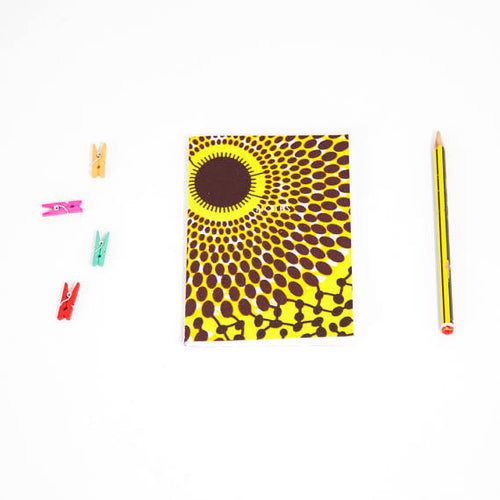 African Print Softbound Notebook - Green Record Print