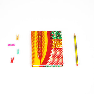 African Print Hardback Notebook - Green, Red, Yellow Shield - Bespoke Binny