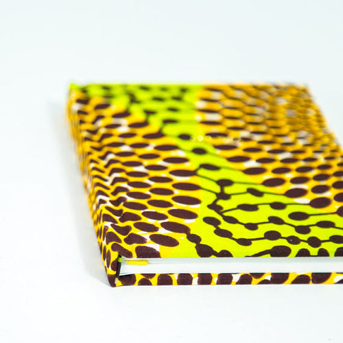 African Print Hardback Notebook - Green Record Print