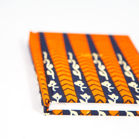 African Print Hardback Notebook - Navy And Red Floral