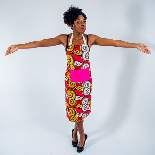 African print apron - Red Swirls
