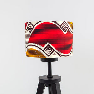 Lampshade African Wax Print - Red and gold waves - Bespoke Binny