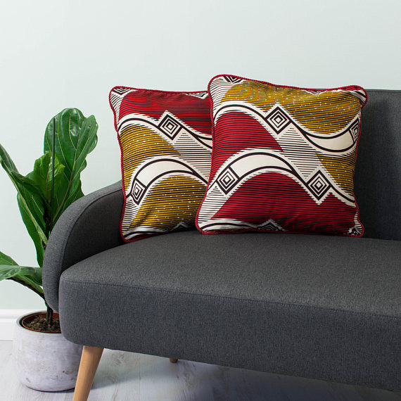 African Pillows - Red and gold waves - Bespoke Binny