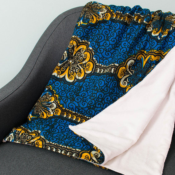 African print throw - Blue yellow swirl - Bespoke Binny