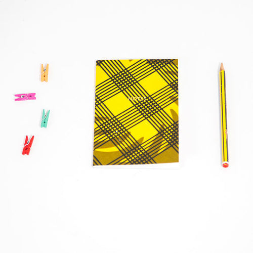 African Print Softbound Notebook -  Green Olive Checked