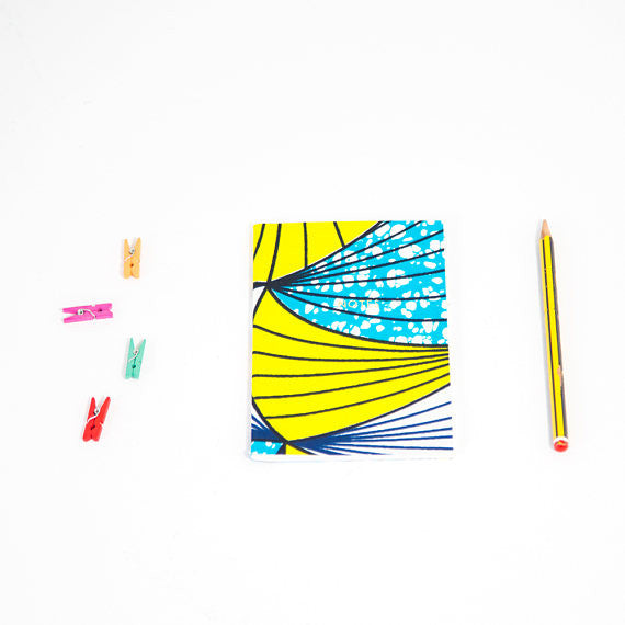 African Print Softbound Notebook - Cyan And Yellow Fan