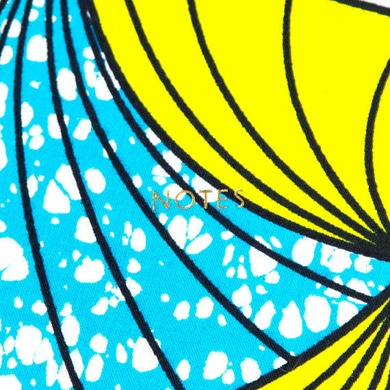 African Print Softbound Notebook - Cyan And Yellow Fan - Bespoke Binny