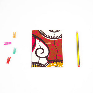 African Print Softbound Notebook - Red Swirls - Bespoke Binny