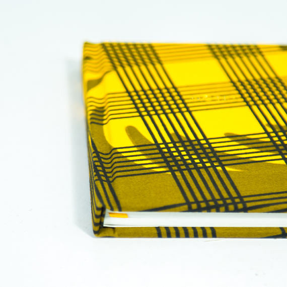 African Print Hardback Notebook - Green Olive Checked