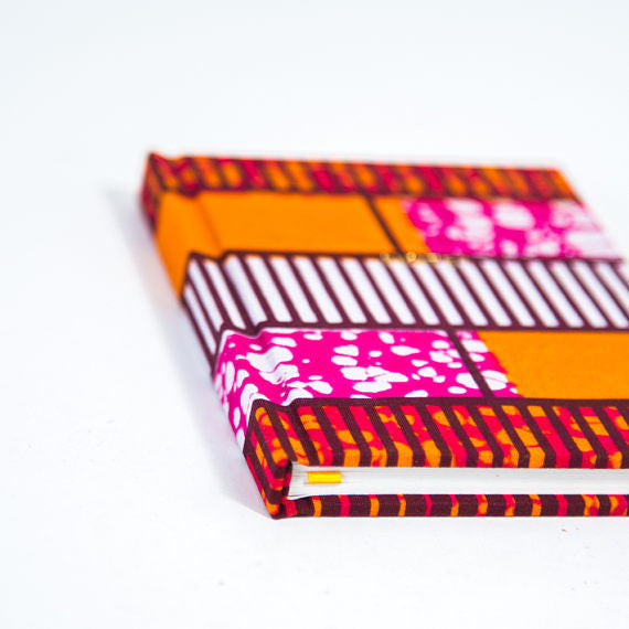 African Print Hardback Notebook - Pink And Orange Geometric