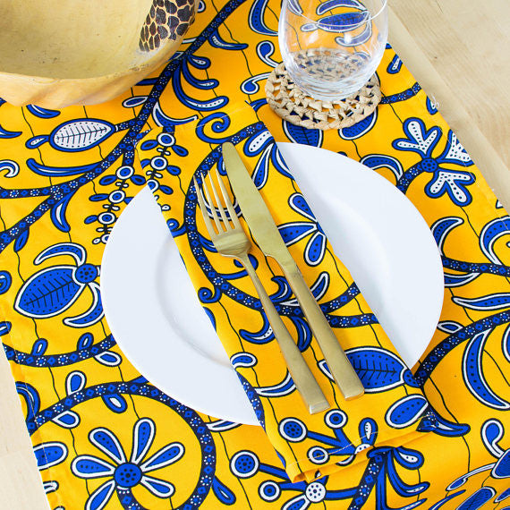African Print Table Runner - Royal blue and sunshine - Bespoke Binny