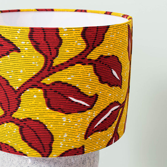 Lampshade African Wax Print - Yellow and red floral - Bespoke Binny
