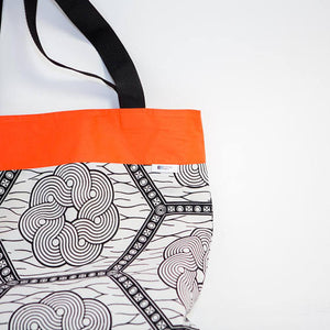 Tote bag - Black and white hexagon - Bespoke Binny