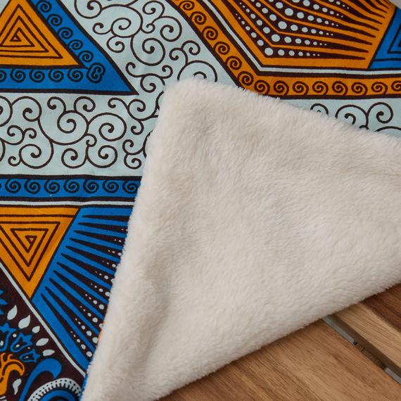 African print blanket  - Blue Hexagon