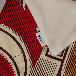 African print throw blanket - Red Waves - Bespoke Binny
